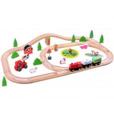 Inlea4Fun KIDS Toyland Dřevěná vlaková trať s doplňky Farma 50 kusů Preview