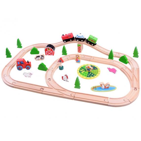 Inlea4Fun KIDS Toyland Dřevěná vlaková trať s doplňky Farma 50 kusů
