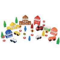 Inlea4Fun FUN TOWN dřevěné barevné tvary Město - hasičská stanice 47 kusů