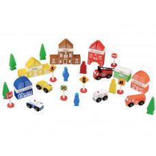 Inlea4Fun FUN TOWN dřevěné barevné tvary Město - hasičská stanice 47 kusů Preview