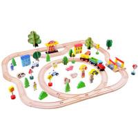 Inlea4Fun KIDS Toyland Dřevěná vlaková trať s doplňky Město 80 kusů