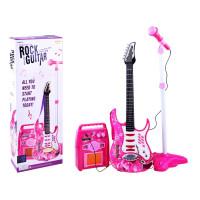 Inlea4Fun Elektrická kytara s mikrofonem a zesilovačem - růžová