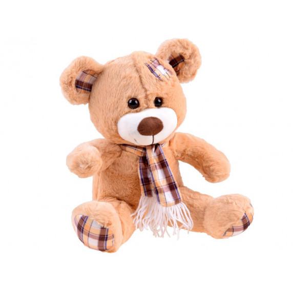 Plyšový medvídek s károvanou šátkem 30 cm Inlea4Fun - hnědý