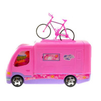 Inlea4Fun CAMPER Růžový karavan s kolem