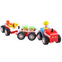 Inlea4Fun WOODEN TRACTOR Dřevěný traktor s přívěsem a figurkami