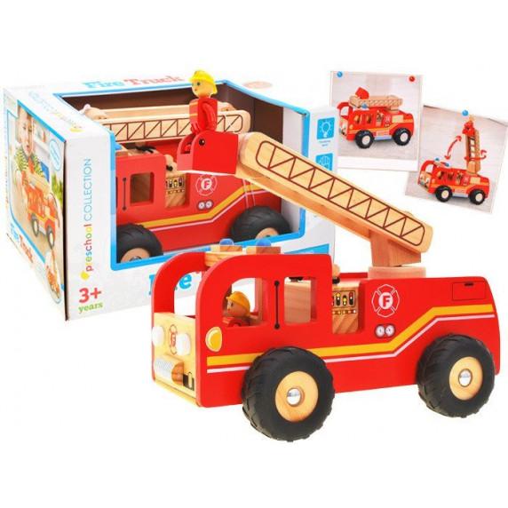 Inlea4Fun Dřevěné hasičské auto FIRE TRUCK