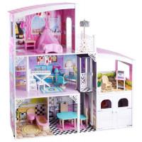 Inlea4Fun Dřevěný domeček pro panenky DOLLY