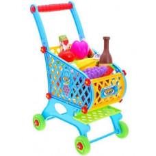 Inlea4Fun SUPER FUNNY Nákupní vozík s potravinami - modrý Preview