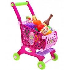 Inlea4Fun SUPER FUNNY Nákupní vozík s potravinami - růžový Preview
