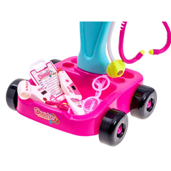 Inlea4Fun MEDICAL PLAY SET Dětský lékařský vozík + 17 kusů příslušenství