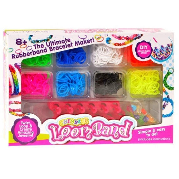 Barevné gumičky pro výrobu náramků Inlea4Fun Loom Band
