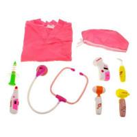 Inlea4Fun Lékařský kostým se svítícími doplňky - růžový