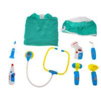 Inlea4Fun Lékařský kostým se svítícími doplňky - zelený