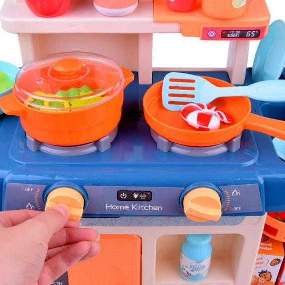 Inlea4Fun IGA Play kuchyně se světelnými a zvukovými efekty s 40 doplňky - modrá
