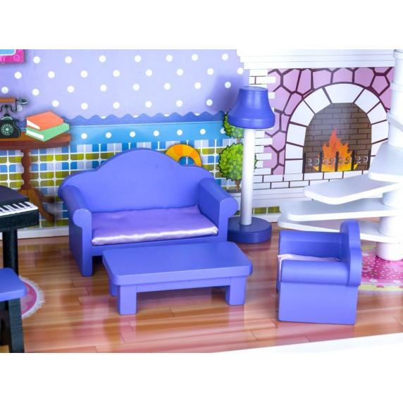 Inlea4Fun Dřevěný domeček pro panenky s LED světlem Betty