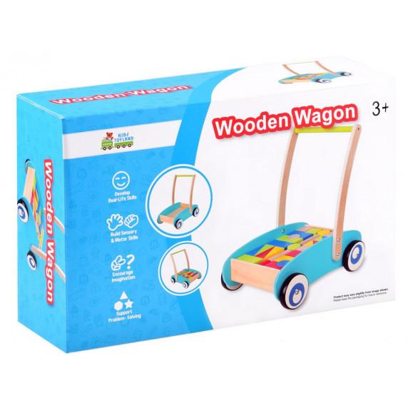 Dřevěný vozík s barevnými kostkami 32 kusů Inlea4Fun WOODEN WAGON
