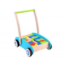 Dřevěný vozík s barevnými kostkami 32 kusů Inlea4Fun WOODEN WAGON Preview
