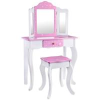 Dětský toaletní stolek Inlea4Fun ZA3718 - bílý / růžový