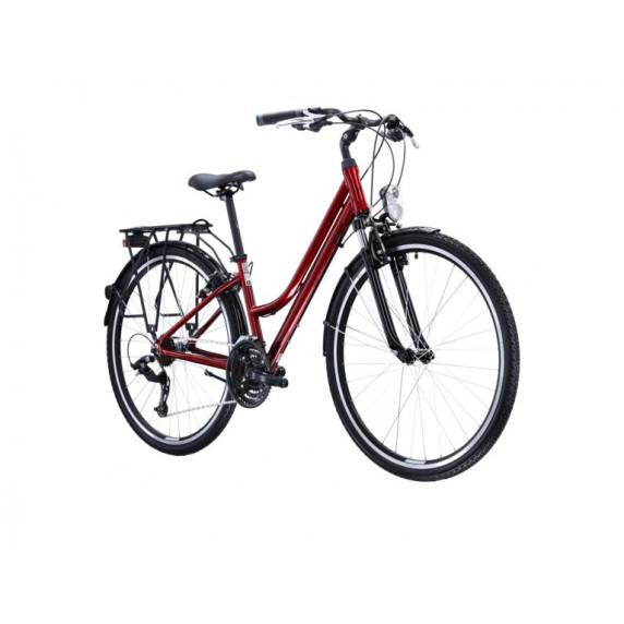 """KROSS Trekking Dámské kolo Trans 1.0 19"""" DL 2021 - lesklé červené / černé"""