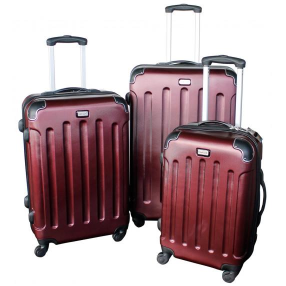 Linder Exclusiv LUXURY MC3002 Cestovní kufry S,M,L - burgundy