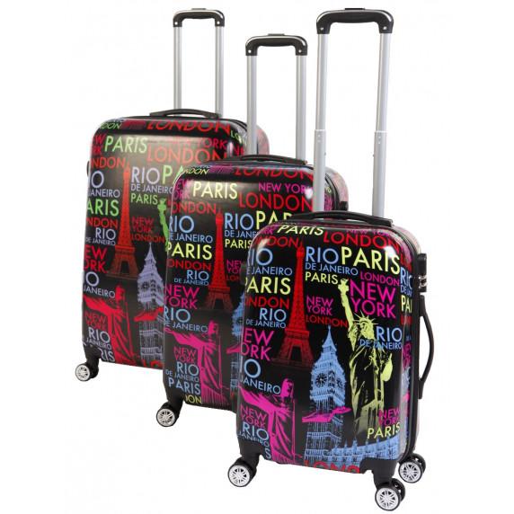 Linder Exclusiv  CITY ALUMINUM cestovní kufry MC3049 S,M,L - Černý