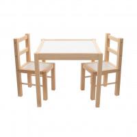 New Baby PRIMA dětský dřevěný stůl s židlemi - Přírodní