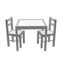 New Baby PRIMA dětský dřevěný stůl s židlemi - Šedý