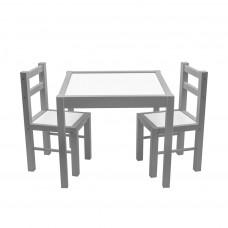 New Baby PRIMA dětský dřevěný stůl s židlemi - Šedý Preview