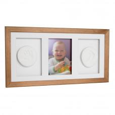Trojitý fotorámeček s otiskem Baby HandPrint - hnědý Preview