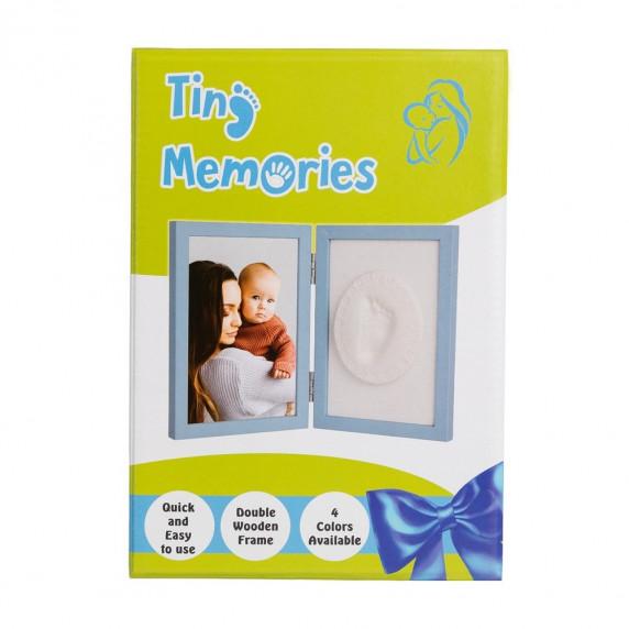 Dvojitý fotorámeček s otiskem Tiny Memories - modrý