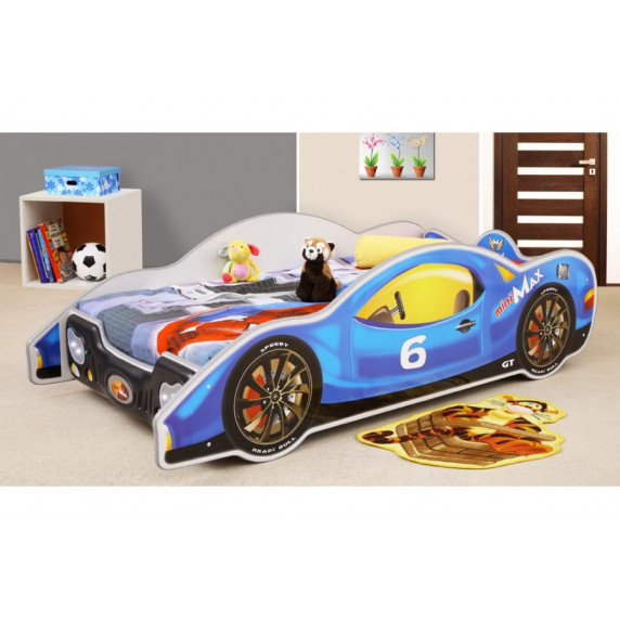 Dětská postel ve tvaru automobilu Inlea4Fun Minimax - Modrá