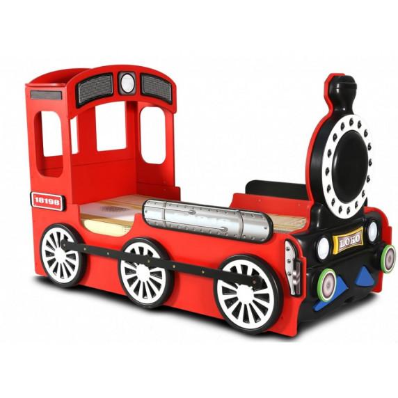 Dětská postýlka Lokomotiva Inlea4Fun - Červená