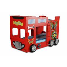 Dětská patrová postýlka Inlea4Fun Happy Bus - červená Preview