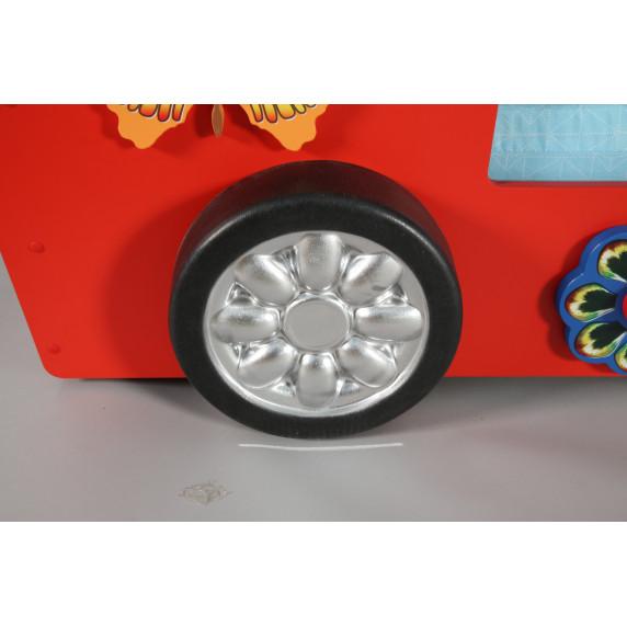 Dětská patrová postýlka Inlea4Fun Happy Bus - červená