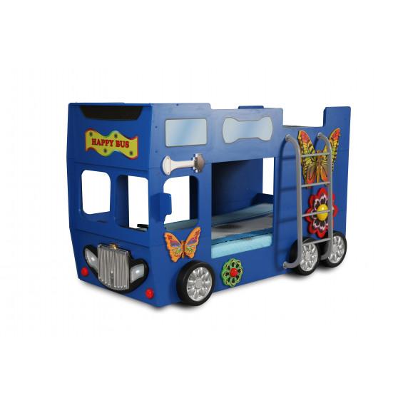 Dětská patrová postýlka Inlea4Fun Happy Bus - modrá