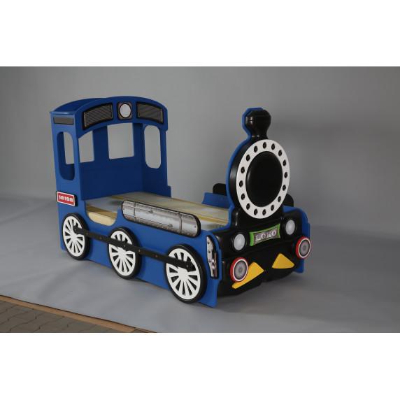 Dětská postýlka Lokomotiva Inlea4Fun - Modrá
