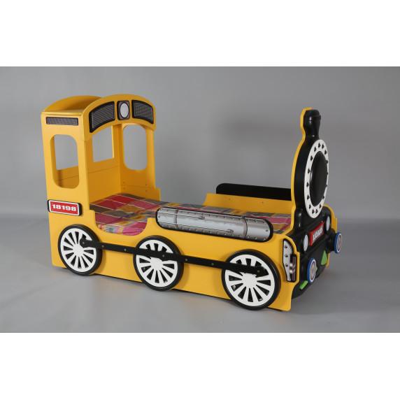 Dětská postýlka Lokomotiva Inlea4Fun - Žlutá