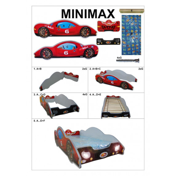Dětská postýlka Inlea4Fun Minimax - malá červená