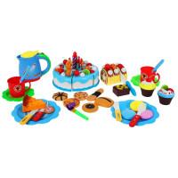 Inlea4Fun dětská krájecí dort SWEET CAKE s 80 doplňky - modrá
