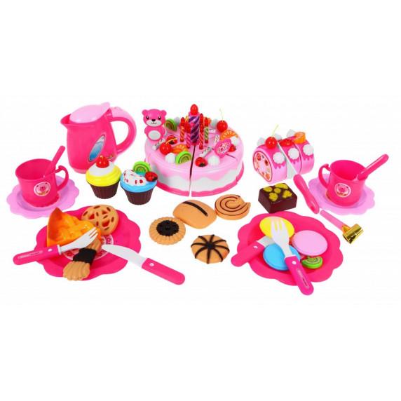 Inlea4Fun dětská krájecí dort SWEET CAKE s 80 doplňky - růžová