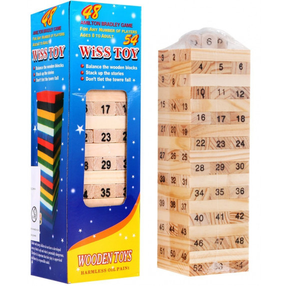 Inlea4Fun Wiss Toy Jenga dřevěná společenská hra