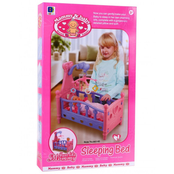Inlea4Fun SLEEPING BED Postýlka pro panenky - růžová
