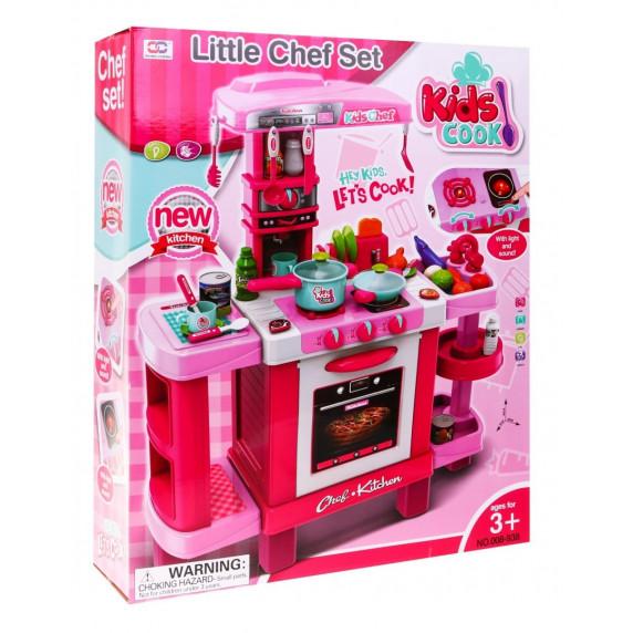 Inlea4Fun KIDS COOK Dětská kuchyňka se světelnými a zvukovými efekty a doplňky - růžová