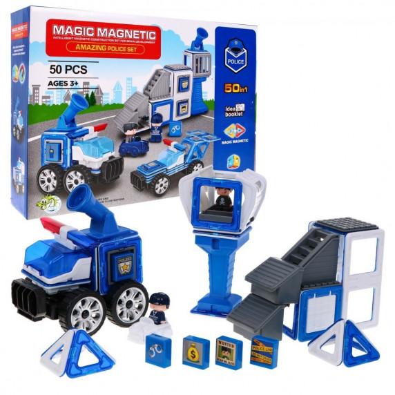 Magnetická stavebnice Policejní stanice 50 ks Inlea4Fun MAGIC MAGNETIC