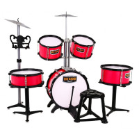 Dětské bicí se židlí Inlea4Fun BIG BAND - červené