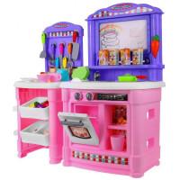 Velká dětská kuchyňka Super Šéf s tekoucí vodou Inlea4Fun + příslušenství- růžová