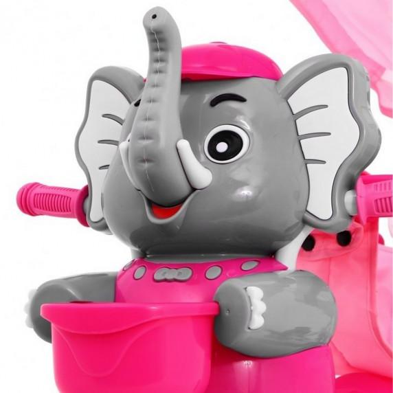 Inlea4Fun Tříkolka Happy Elephant - růžová